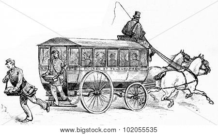 The omnibus factors, vintage engraved illustration. Paris - Auguste VITU 1890.