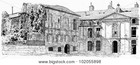 The old buildings of the Gobelins, vintage engraved illustration. Paris - Auguste VITU  1890.