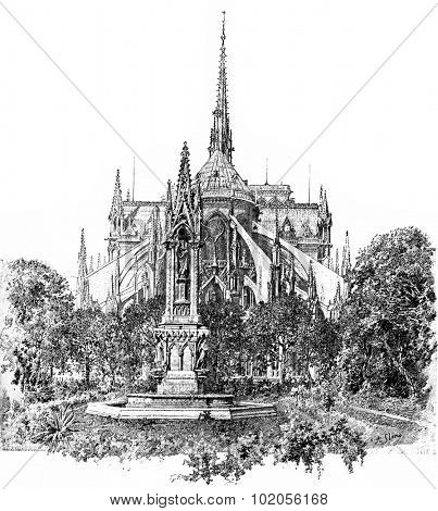 Square of the Archdiocese and apse of Notre Dame, vintage engraved illustration. Paris - August 1890.