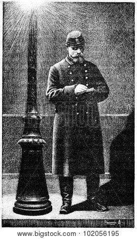 Peacekeeper, vintage engraved illustration. Paris - Auguste VITU �¢?? 1890.
