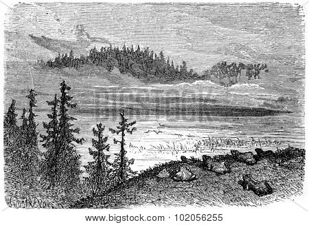 Lake of the Fairies, vintage engraved illustration. From Chemin des Ecoliers, 1861.