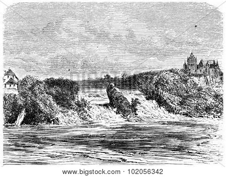 Rhine Fall in Schaffhausen, vintage engraved illustration. From Chemin des Ecoliers, 1861.