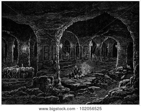 The Triassic formation, Wieliczka salt mines in Poland, vintage engraved illustration. Earth before man  1886.