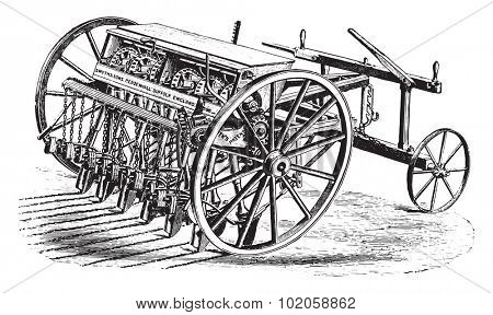 Seeder Smyth, vintage engraved illustration. Industrial encyclopedia E.-O. Lami - 1875.
