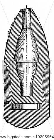 Projectile expansion, Hotchkiss, vintage engraved illustration. Industrial encyclopedia E.-O. Lami - 1875.