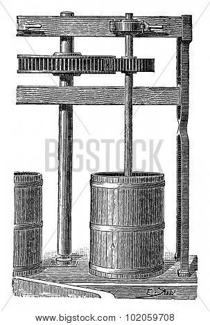 Small grinding mills, vintage engraved illustration. Industrial encyclopedia E.-O. Lami - 1875.