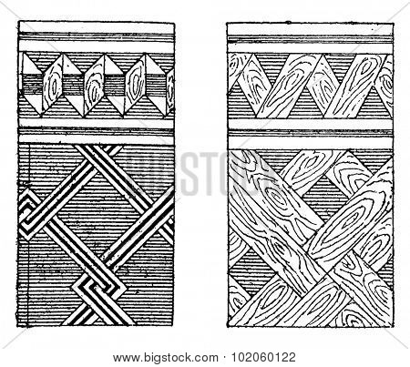 Parquet and mosaic marquetry, vintage engraved illustration. Industrial encyclopedia E.-O. Lami - 1875.