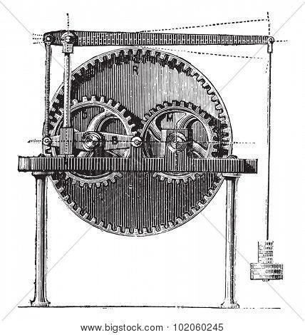 Raffard dynamometer, vintage engraved illustration. Industrial encyclopedia E.-O. Lami - 1875.