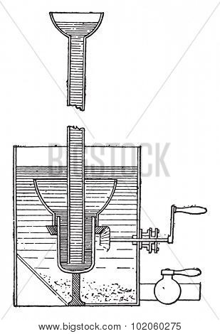 Mercury scrubber, vintage engraved illustration. Industrial encyclopedia E.-O. Lami - 1875.