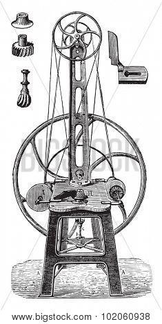 Straightening machine, polish and finish, vintage engraved illustration. Industrial encyclopedia E.-O. Lami - 1875.