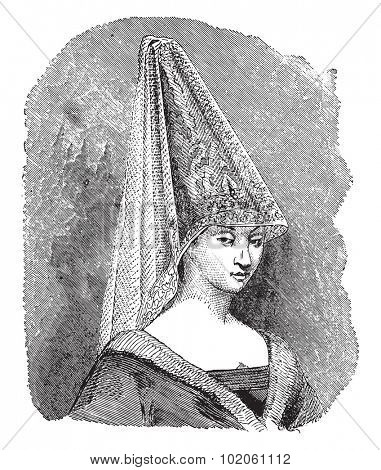 Hennin bourgeois, vintage engraved illustration. Industrial encyclopedia E.-O. Lami - 1875.