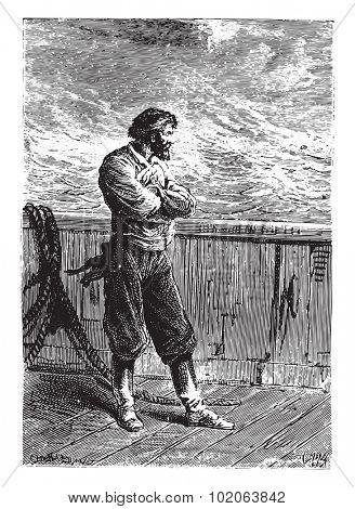 Negoro, always silent, vintage engraved illustration.  Jules Verne, a 15 year old captain.