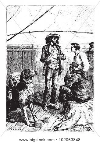 It should not be assumed that the dogs alone had the privilege of being intelligent, vintage engraved illustration.  Jules Verne, a 15 year old captain.