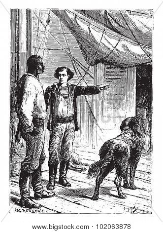 I will watch, simply replied Hercules, vintage engraved illustration.  Jules Verne, a 15 year old captain.