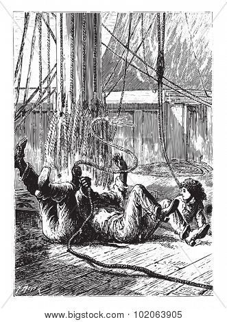 All three fell to the overthrown, vintage engraved illustration.  Jules Verne, a 15 year old captain.  poster