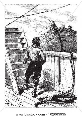 The dog he knew and he therefore recognized the cock master?, vintage engraved illustration.  Jules Verne, a 15 year old captain.