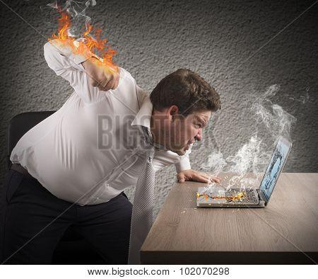 Businessman fiery rage