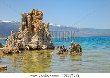 Tufas rocks made of calcium carbonate deposits at Mono Lake CaliforniaUSA