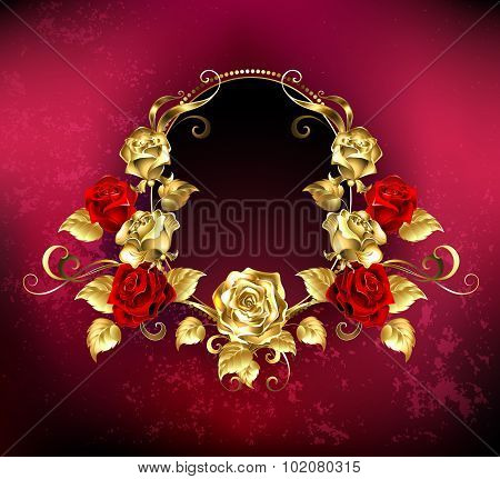 Oval Banner With Roses