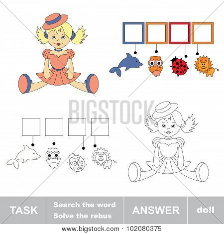 Search the word doll. Find hidden word. Task and answer. Game for children. Rebus kid riddle game. poster