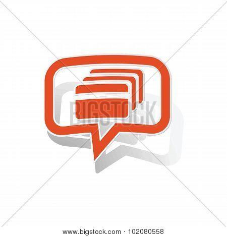 Credit card message sticker, orange