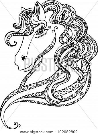 Hand drawn outline decorative horse head illustration. Horse drawing with abstract doodle zentangle