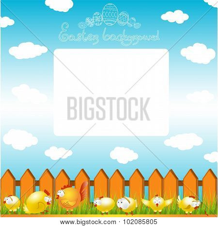 easter cartoon baackground with chicken and cock on grass near ?????
