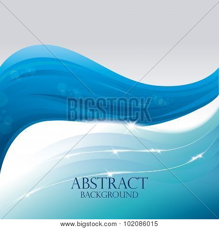Blue waves abstract background design.