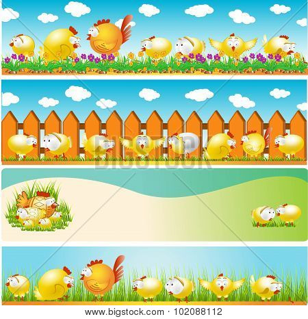 four easter cartoon banners with chicken and cock