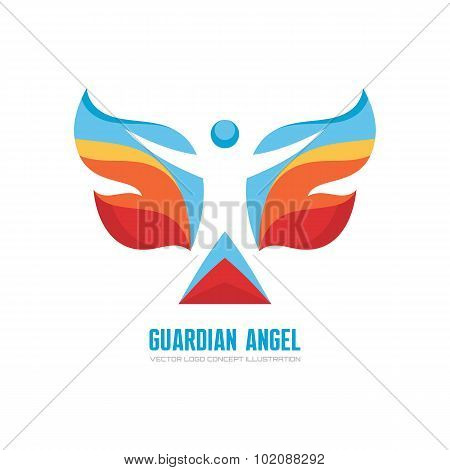 Guardian angel - vector logo concept illustration. Human character with colored wings. Butterfly.