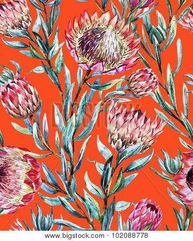 Watercolor tropical protea pattern