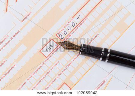 Fountain Pen On Remittance Slip