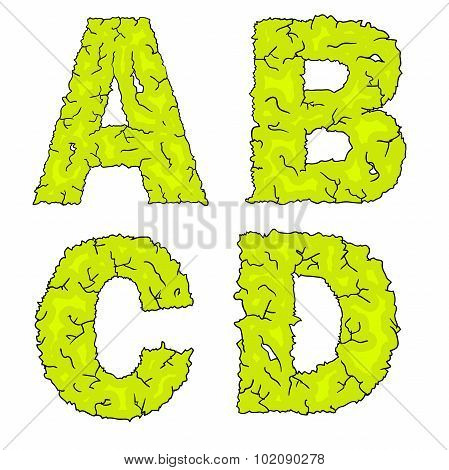 halloween grimy letters abcd