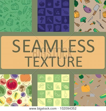 seamless texture vegetables and fruits vector set