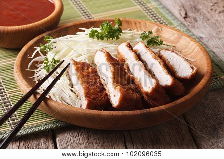 Japanese Tonkatsu Breaded Deep Fried Pork With Cabbage And Sauce