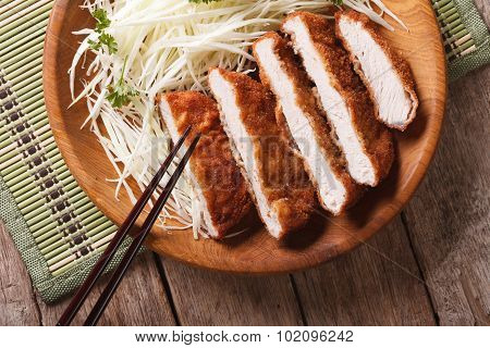 Tonkatsu Serve With Slice Cabbage Closeup. Horizontal Top View
