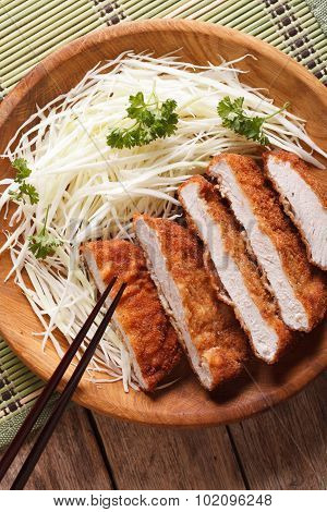 Tonkatsu Serve With Slice Cabbage Closeup. Vertical Top View