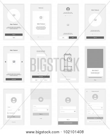 Mobile Screens wireframe User Interface Kit. Modern user interface UX, UI screen template for mobile