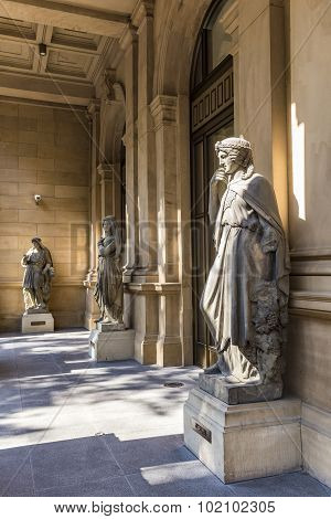 FRANKFURT, GERMANY - JULY 8, 2012: historic statue at frankfurt stock exchange with the female greek godness Europe
