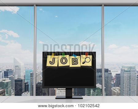 Yellow Stickers Are On The Display With The Word Job As A Symbol Of The Searching Of The Vacancies I