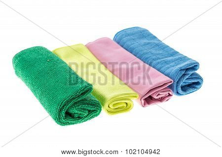 Microfiber Cloth For Cleaning Isolated On White Background