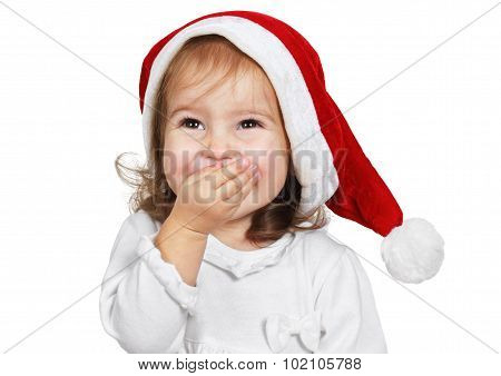 Funny Child Laugh Dressed Santa Hat, Isolated On White