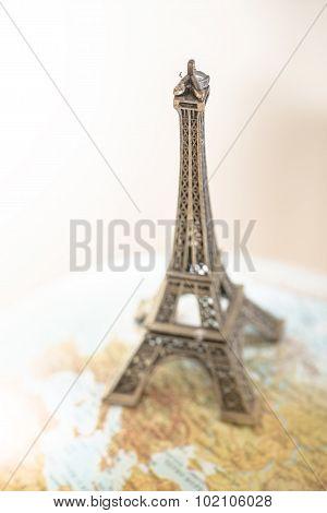 Eiffel Tower On Globe.