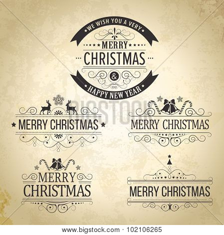 Christmas decoration Set of calligraphic vintage labels