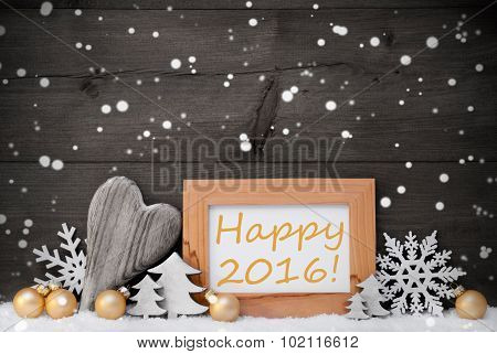 Golden Gray Christmas Decoration, Snow,Happy 2016, Snowflake