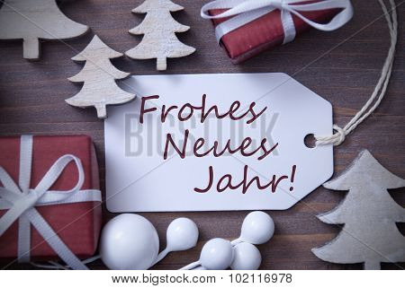Christmas Label Gift Tree Frohes Neues Jahr Means New Year