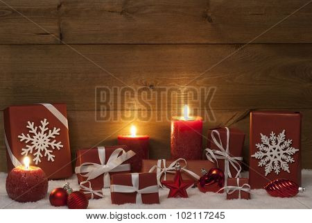 Christmas Decoration, Red Candles, Presents And Snow, Ball