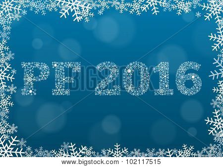 Pf 2016 - White Text Made Of Snowflakes On Background With Bokeh Effect