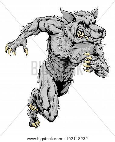 Werewolf Wolf Sports Mascot Running