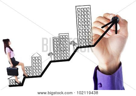 Entrepreneur Walking On The Business Property Chart